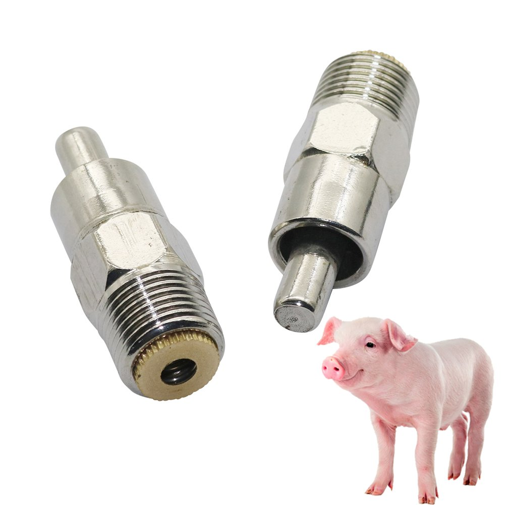 5 Pieces Stainless Steel Pig Nipple Water Drinking Tool Automatic Farm Livestock Drinker ADHERETOFLY (#2)