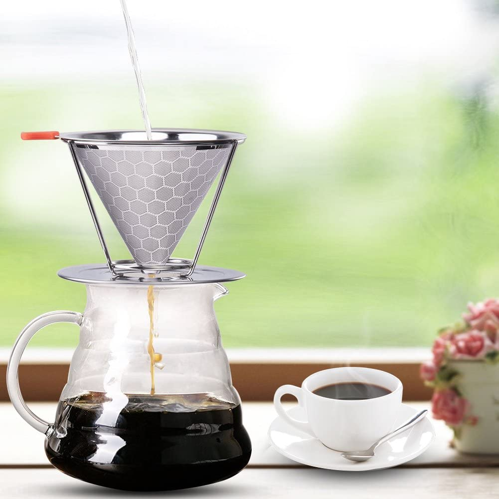 Famtasme Pour Over Coffee Filter 304 Stainless Steel Drip Cone ...