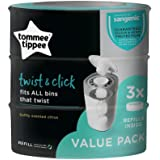 TOMMEE TIPPEE Twist and Click Nappy Disposal System Refill Cassettes (3 Pack)