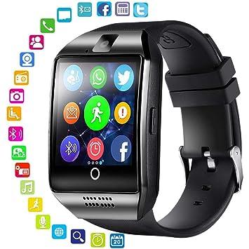 Q18 Reloj Inteligente,Pantalla táctil, Reloj de Pulsera con Ranura para Tarjeta SIM/TF, rastreador de Actividad Deportiva para Smartphones iOS y Android: ...