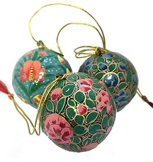 Christbaumkugeln Pappmache.Satz Von 18 Papier Pappmache Weihnachtskugeln Holz Christbaumkugeln
