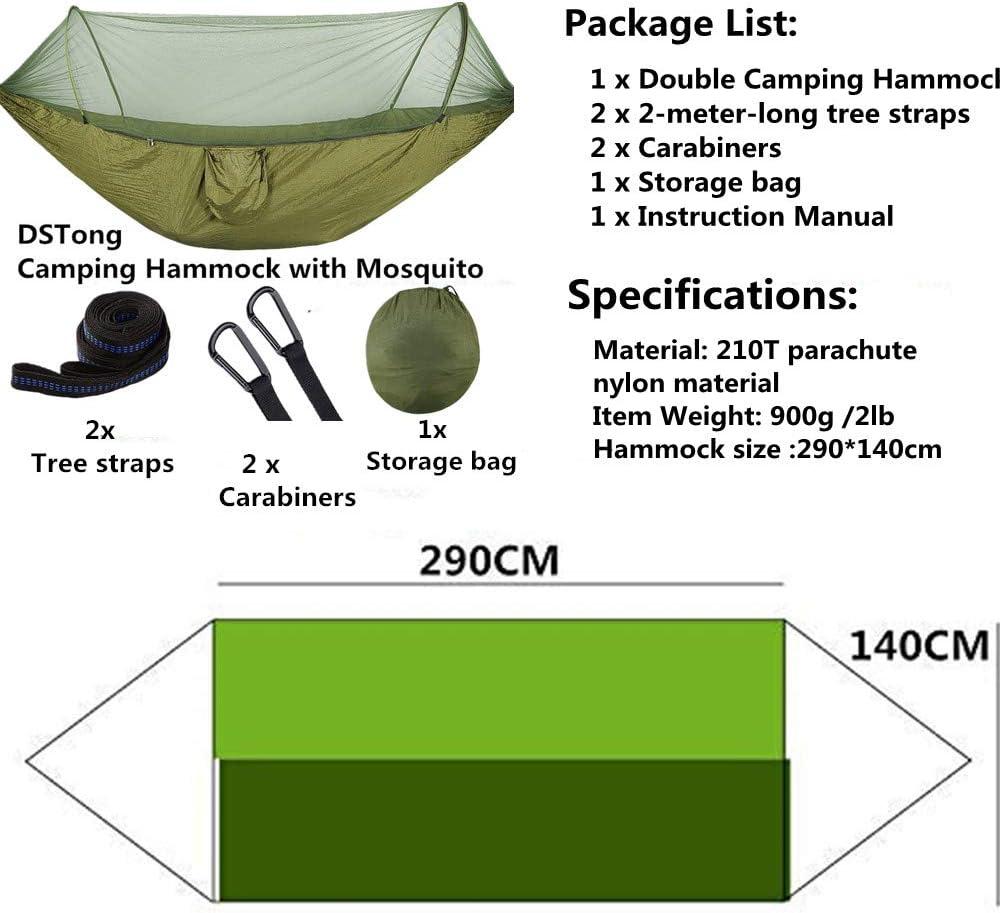 Amaca da Campeggio con Rete Zanzariera Ultra Leggera 260 * 140cm//Fruit Green//Dark Green Viaggio Traspirante Nylon con Zanzariera a Doppia Cerniera da Paracadute
