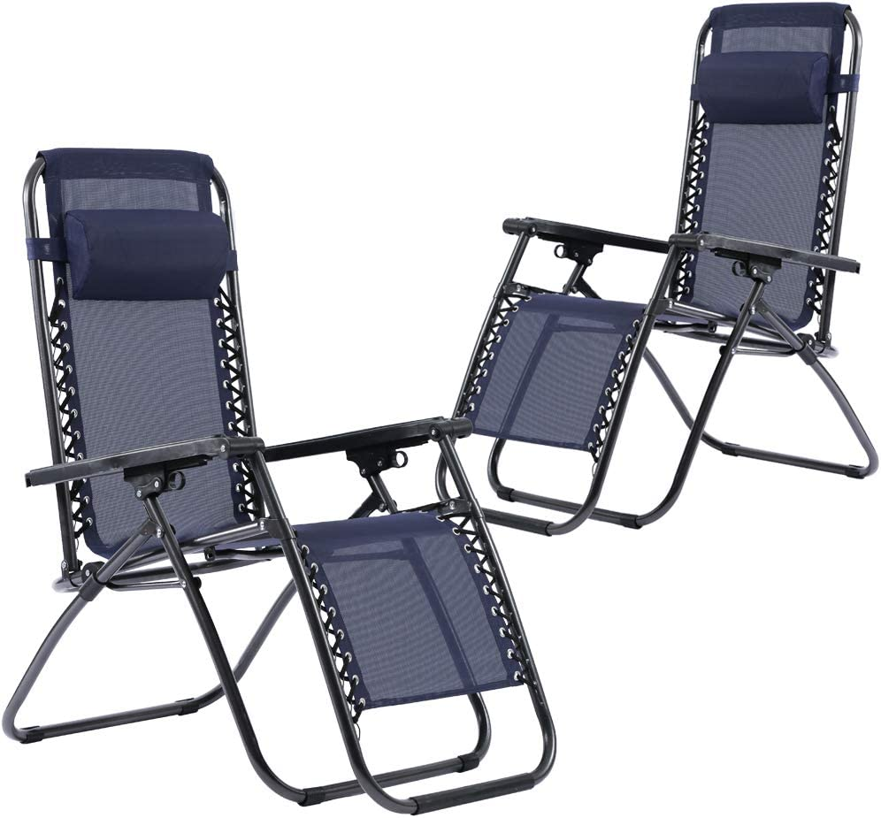Zero Gravity Recliner Chair Patio Chairs Lounge Chair Set of 2 Adjustable for Pool Side Outdoor Yard Beach