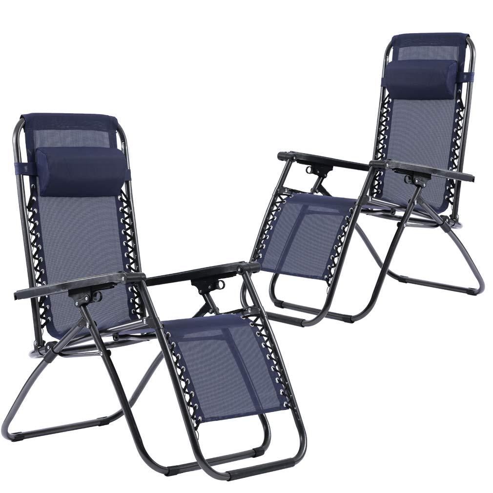 FDW Set of 2 Zero Gravity Chairs Lounge Patio Chairs Outdoor Yard Beach (Blue)