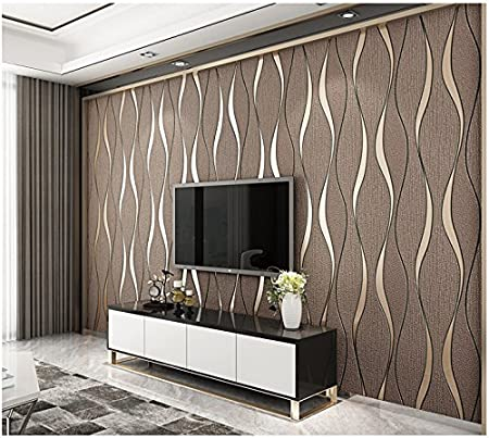 Yosot Modern 3D Relief Curves Stripes Wallpaper Tv Background Living Room Non Woven Brown