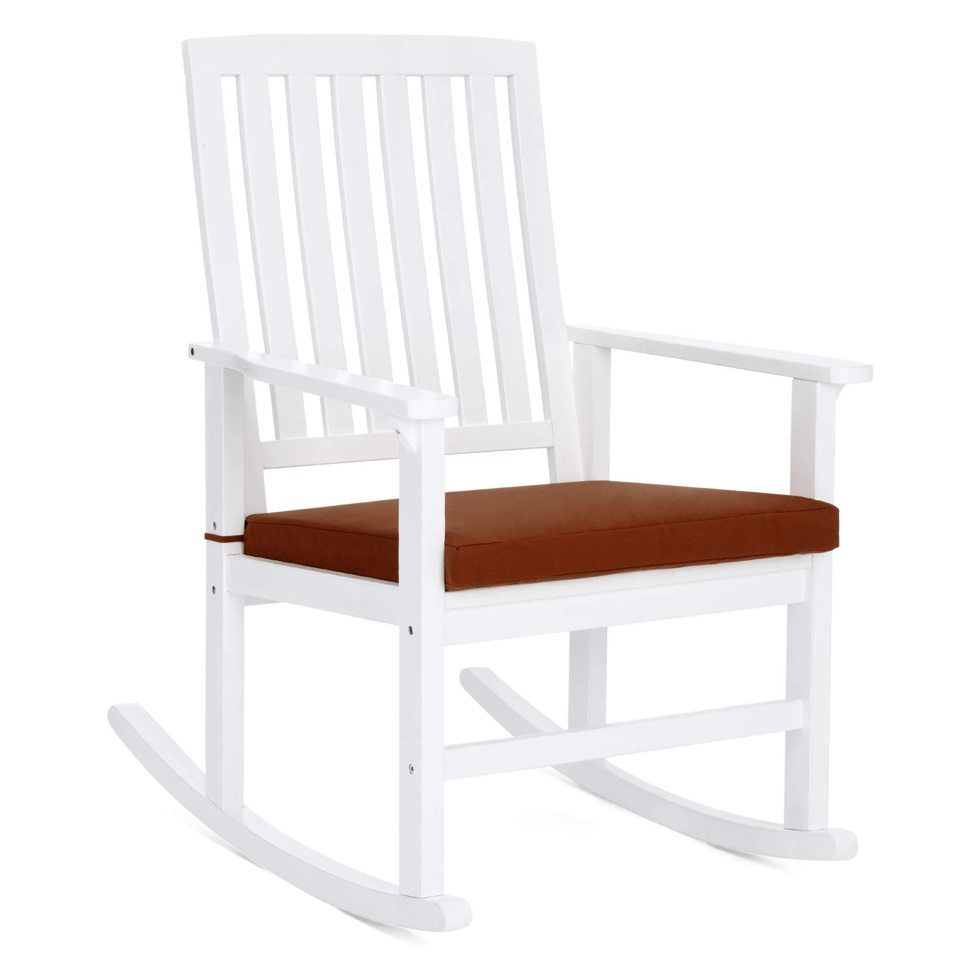 Best Choice Products Indoor Outdoor Wooden Patio Rocking Chair Porch Glider with Seat Cushion, White/Red