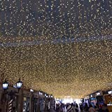 LED Window Curtain String Light, LED String Lights Indoor Outdoor Wall Background Decorative Lights for Wedding/Festival/Party/Garden/Home Christmas Decorations, 8 Modes, (Warm White,Length:11.5ft)