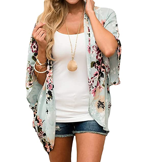 b76e56a65d5d2 Bestyou® Women's Beachwear Cover-ups Tunic Chiffon Geometry Print Kimono  Cardigan (Floral Print
