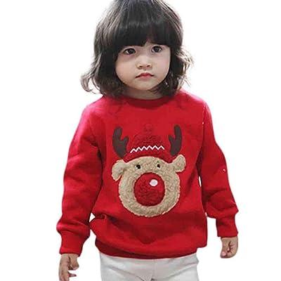 AutumnFall Baby Sweatshirt, Toddler Boys Girl Christmas Deer Print Tops