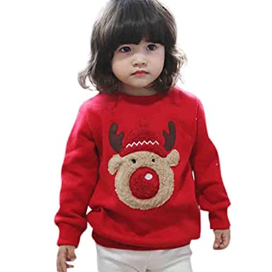 Toddler Christmas Outfit.Vicbovo Kids Christmas Outfits Toddler Baby Boy Girls Lovely Deer Thick Warm Sweatshirt Winter Clothes