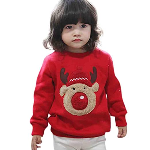 Kids Christmas Outfits, Toddler Baby Boy Girls Lovely Deer Thick Warm  Sweatshirt Winter Clothes ( - Amazon.com: Vicbovo Kids Christmas Outfits, Toddler Baby Boy Girls