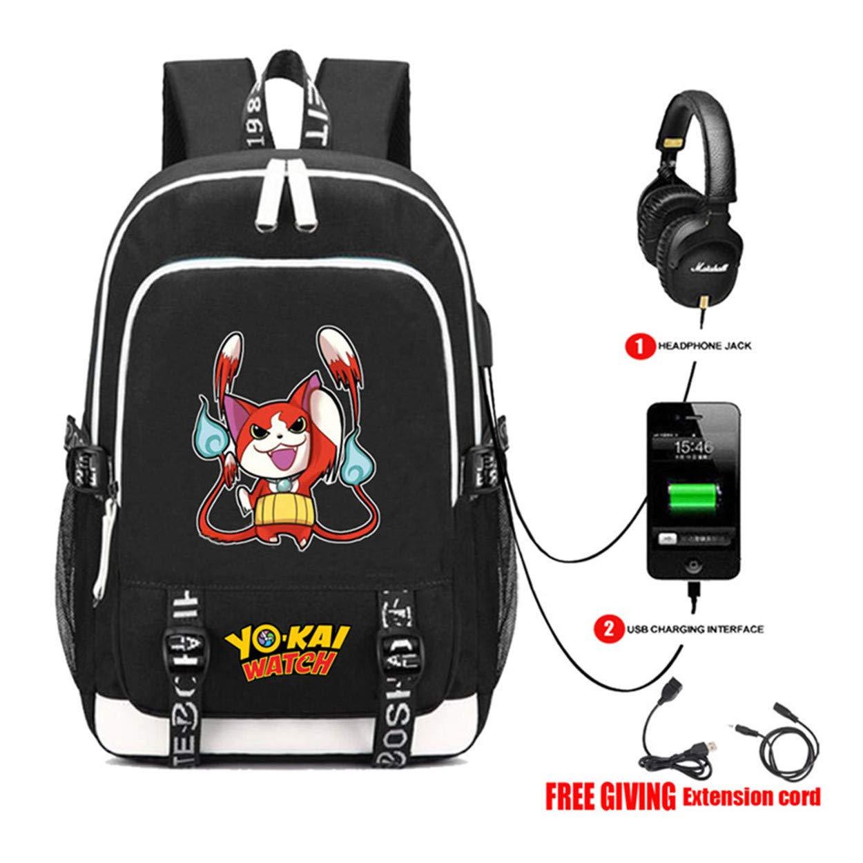 Cosstars YO-Kai Watch PuniPuni Juego Bolsa de Estudiante Mochila para Portátil con Puerto de Carga USB y Conector para Auriculares /1: Amazon.es: Equipaje
