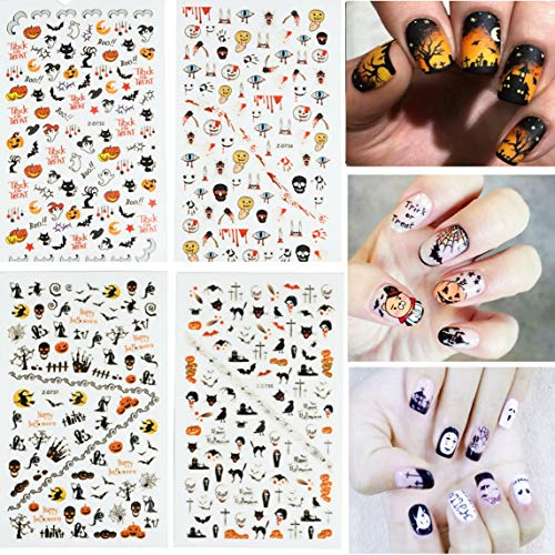 Dadiii Halloween Nail Art Stickers 4 Sheets Self-adhesive Nail Tattoo Decals Sticker Wraps with Halloween Designs (2) -