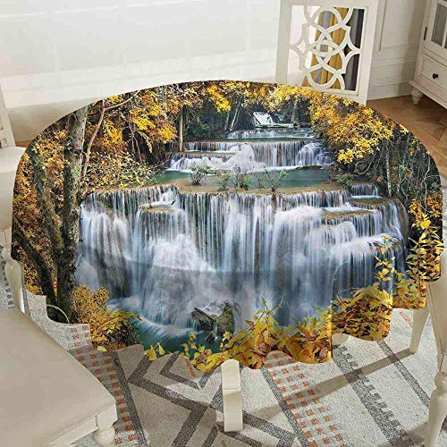 Leaf Copper Waterfalls (Tablecloth Waterfall,Trees with Leaves Nature Round Tablecloth Machine can be Cleaned Size:D51)