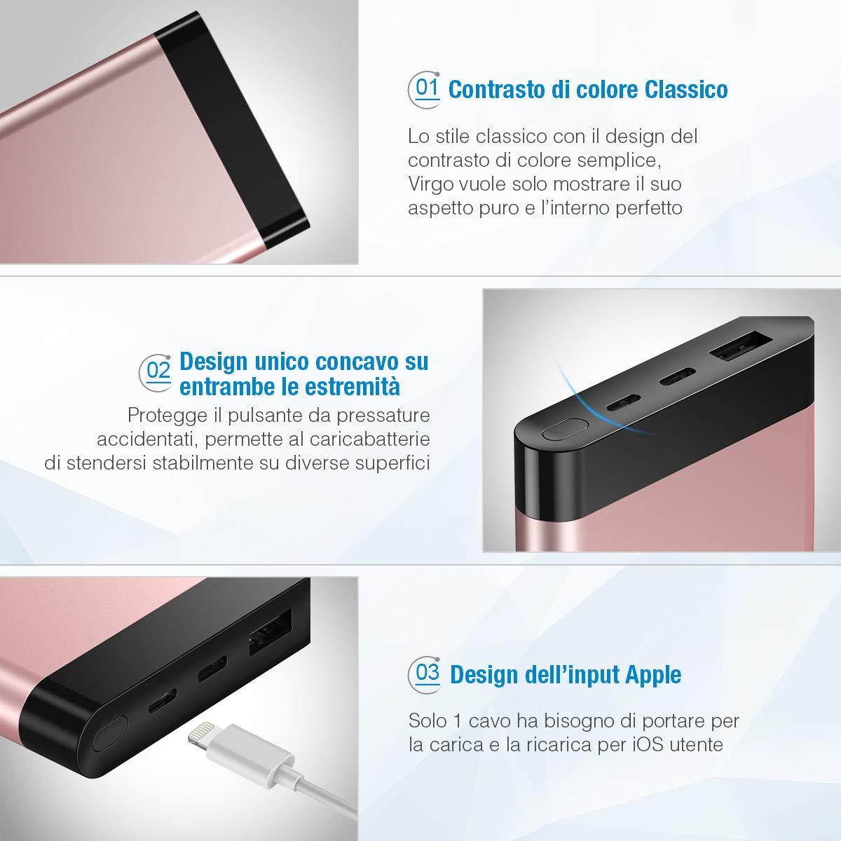 POWERADD Virgo II Powerbank Batteria Portatile 10000mAh con 2 Uscite, Caricabatterie Portatile con display LED, Entrata Lightning + Type-C per iPhone X / 8/7 / 6, Samsung S9 / S8 + e tanti altri