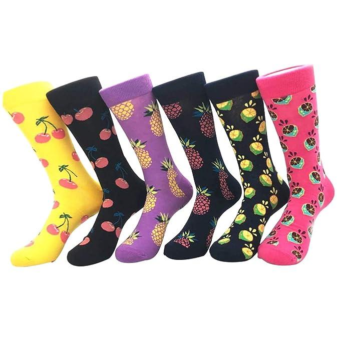 YoungSoul 6 pares calcetines divertidos para mujer, calcetines estampados de algodon, calcetines de colores de moda 01: Amazon.es: Ropa y accesorios