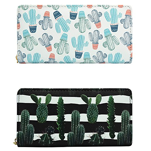 Kukoo Womens PU Leather Wallet Long Clutch Bag Cactus Zipper Purse Credit Card Holder for Gift