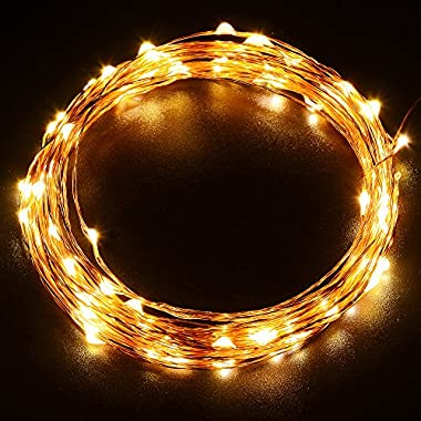 LUCKLED 100LED Starry String Lights, 33ft Fairy Decorative Copper Wire Rope Lights Lighting for Indoor/Outdoor Seasonal Decor, Home, Garden, Patio, Holiday and Party Decorations(Warm White)
