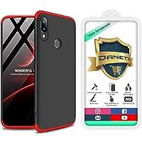 """Kit Capa Capinha Anti Impacto 360 Para Xiaomi Redmi Note 7 E Note 7 Pro Tela 6.3"""" - Case Acrílica Fosca E Acabamento Macio Com Película De Vidro Temperado - Danet (Preto com vermelho)"""