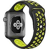 Apple Watch スポーツバンド, Gersymi® スポーツバンド 交換バンド 対応 アップルウォッチ Nike+ / New Apple iWatch Series 2 / Apple Watch Series 1 (42mm, ブラック+イエロー)
