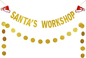 Gold Glittery Santa's Workshop Banner and Gold Glittery Circle Dots Garland- Christmas Holiday Party Decorations,Xmas Decorations,Mantle Home Decor,Santa Party Banner Decor