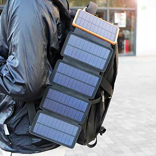 X-DRAGON Solar Charger, 20000mAh Solar Power Bank with 4 Solar Panels, Dual USB, LED Flashlight Waterproof Portable External Battery Backup for iPhone, Cell Phones, ipad and More-Orange by X-DRAGON (Image #5)