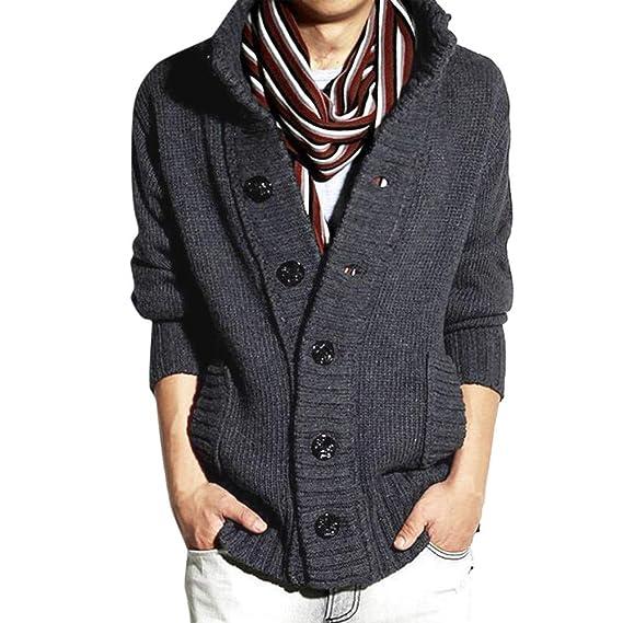 YanHoo Abrigos Hombre Invierno Chaqueta de suéter de Manga Larga botón de Color sólido de los
