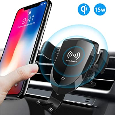 Wireless Car Charger Phone Mount-KOFOHO 10W Fast Charging Car Phone Holder Manual Clamping Air Vent Compatible with iPhone 8/8 Plus/X/XS/XR/XS MAX,Sam