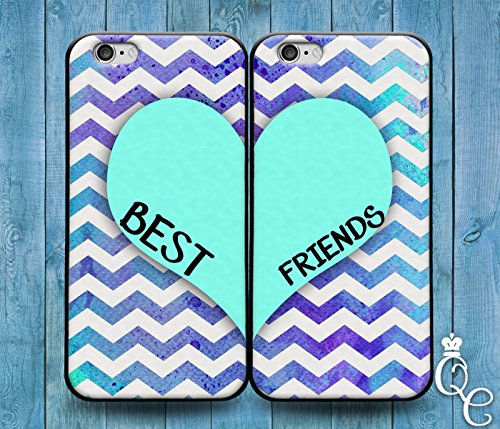 BoutiqueHouse iPhone 4 4s 5 5s 5c SE 6 6s plus iPod Touch 4th 5th 6th Generation Cute Best Friends Heart Mint Green Chevron Pattern Custom Cover Bff Case(iPhone 6/6S)