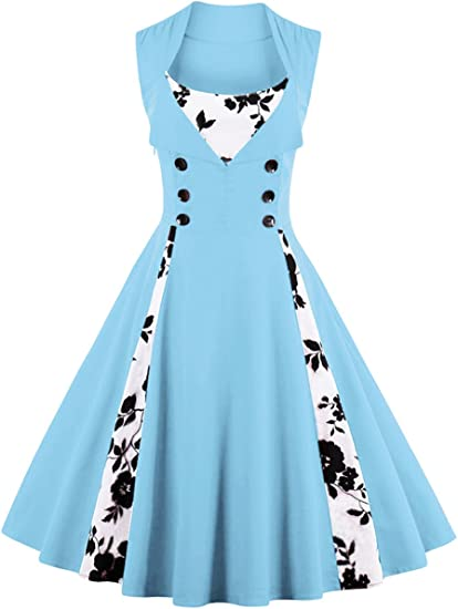 TALLA 3XL. VERNASSA 50s Vestidos Vintage,Mujeres 1950s Vintage A-Line Rockabilly Clásico Verano Dress for Evening Party Cocktail, Multicolor, S-Plus Size 4XL 1357f-azul 3XL