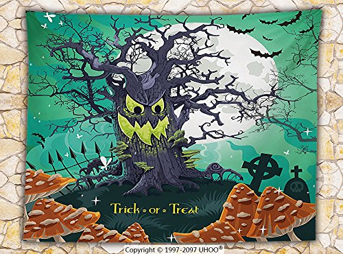 Halloween Decorations Fleece Throw Blanket Trick or Treat Theme Dead Forest with Spooky Tree Graves Big Mushrooms Kids Cartoon Throw Multi