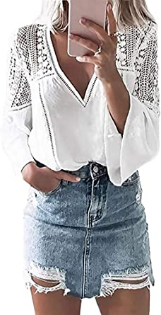 ShallGood Camisa Casual De Manga Larga Cuello V Camisa De Encaje Ajustado Sexy Pullover Tops Lace Shirt Blusa Camisetas y Tops