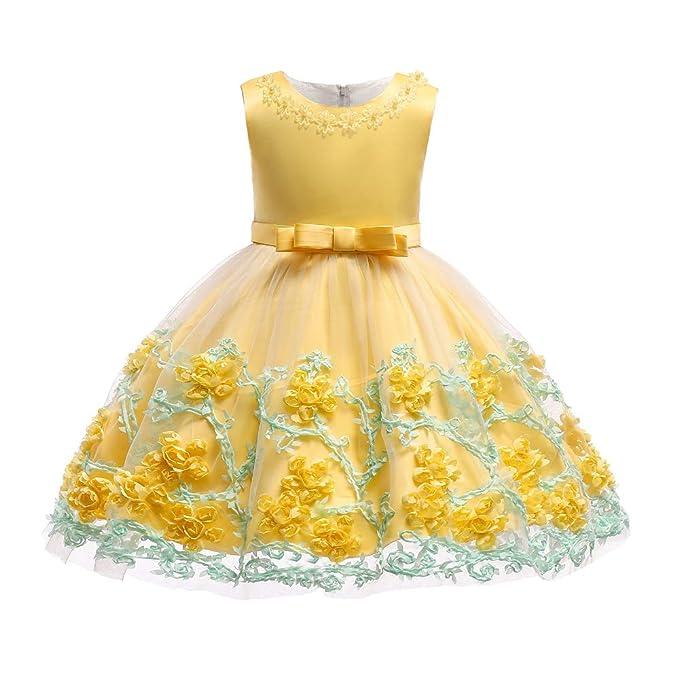 161d754cb5 BOZEVON Vestido De Princesa para Bebé - Boda Infantil De Encaje Floral  Bowknot Vestidos De Fiesta Bonitos  Amazon.es  Ropa y accesorios