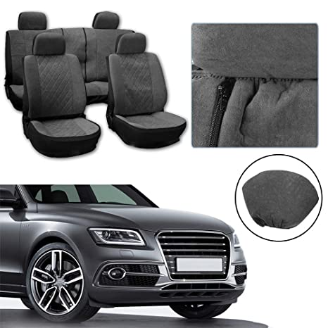 Black//Gray Stretchy Universal Seat Cushion w//Headrest 100/% Breathable Automotive Accessories with Durable Washable Polyester for Most Cars OCPTY Car Seat Cover
