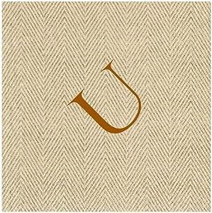 Entertaining with Caspari Jute Herringbone Paper Linen Cocktail Napkins, Monogram Initial U, Pack of 30