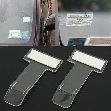 Vientiane Auto Ticket Clip 2 Stück Windschutzscheibe Selbstklebend Transparent Parkschein Halter Fahrzeug Ticket Clip Behindertenausweis Für Parkausweis Parkkarten Parkgenehmigung Auto