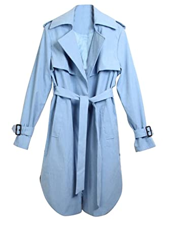 9b5d0524c0e64 Jofemuho Women Plus Size Slim Fit Belted Casual Loose Lapel Trench Coat  Jacket Blue XS
