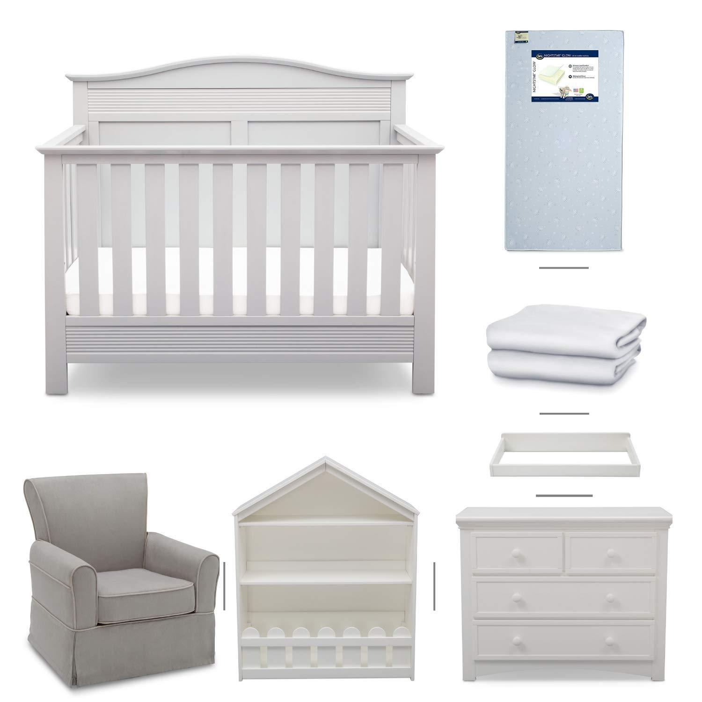Serta Barrett 7-Piece Nursery Furniture Set - Convertible Crib, Dresser, Changing Top, Bookcase, Crib Mattress, Glider, Crib Sheets - Bianca White by Delta Children