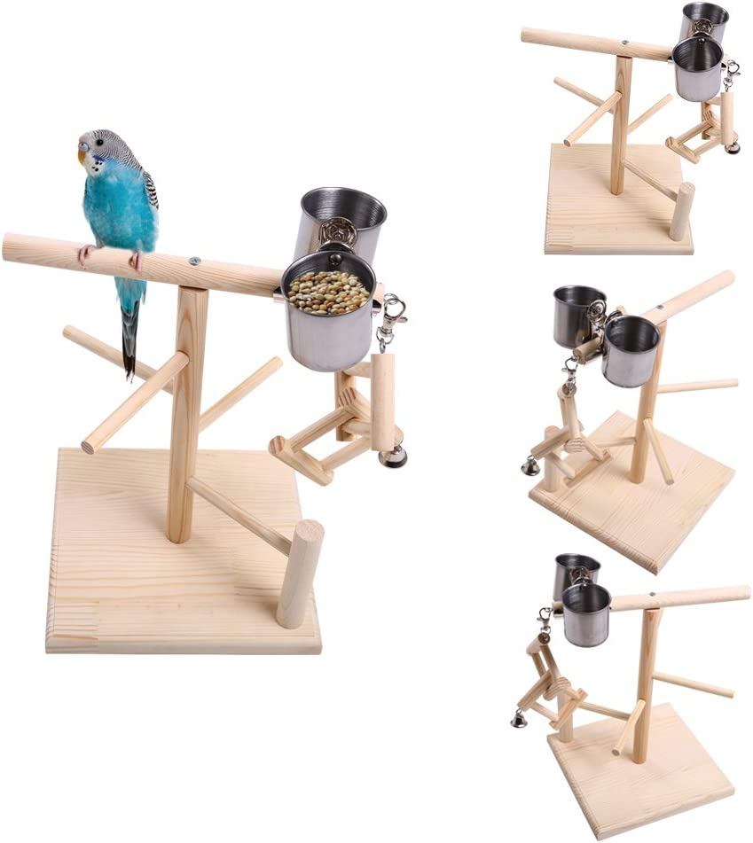 QBLEEV Super beauty product restock Sales results No. 1 quality top Parrots Playstand Bird Playground Gym Wood Perch Stand Pl