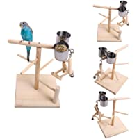 Size Large+Size Small POPETPOP 2Pcs Bird Standing Rack T Shaped Wood Stands Climbing Toy Stand Rack Training Stand for Parrot Bird