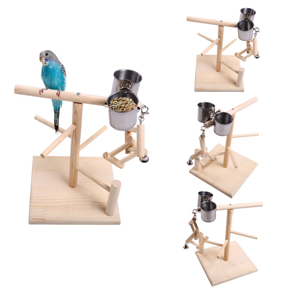 QBLEEV Parrots Playstand Birdcage Decor, Bird Playground,Climb Wood Perches, Gym Stand Exercise Playgym Toys (7.4'' L 7.4'' W 9.8'' H)