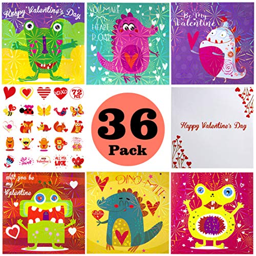 (Kids Valentine Card Packs, 36 Foil Valentine Day Dinosaur Cards with Temporary Tattoos and Heart Envelopes for Kids, Classmates Exchange Children Party Favor Supplies )