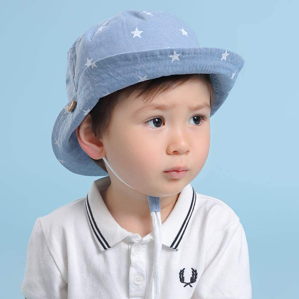 ITODA Baby Bucket Sun Hat Cotton Wind Brim Visor Protection Breathable Adjustable Toddler Cap with Windproof Strap for Spring Fall Summer