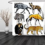 HAIXIA Shower Curtain Zoo Collection of Cartoon Style Wild Animals of Africa Fauna Habitat Savannah Wilderness Multicolor