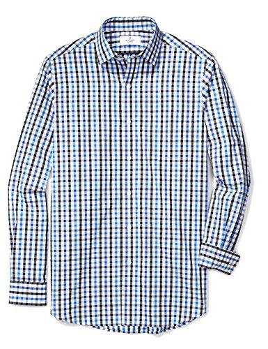 BUTTONED DOWN Men's Classic Fit Supima Cotton Spread-Collar Pattern Non-Iron Dress Shirt, Blue/Black Check, L 34/35