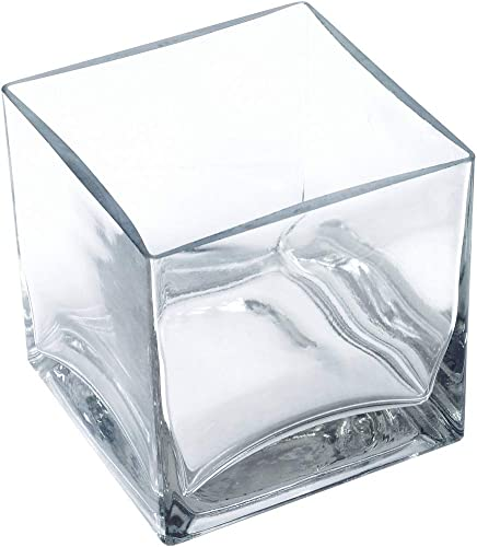 12 Piece Set Square Glass Vase 4 H x 4 W x 4 L Clear Cube Centerpiece Votive Candle-Holder