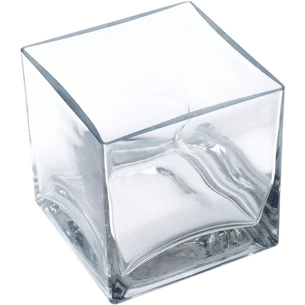 "12 Piece Set Square Glass Vase 4"" H x 4"" W x 4"" L Clear Cube Centerpiece Votive Candle-Holder"
