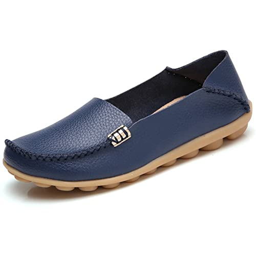 d3c9d0b4e76 SHIBEVER Women s Leather Loafers Shoes Wild Driving Casual Flats Dark Blue  4.5