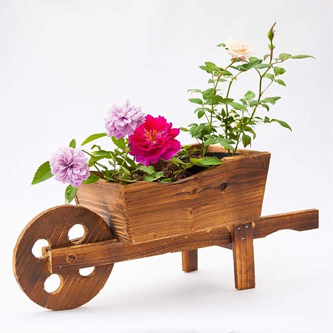 Yardwe - Maceta de Madera con combinación de carritos de Flores creativos para decoración de jardín, decoración de Ventana y Carretilla, Maceta