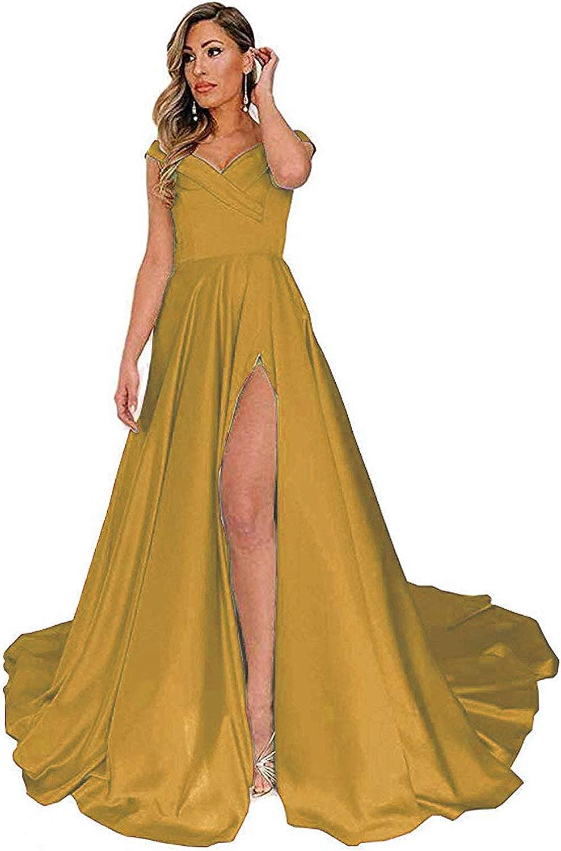 gold Tmaoomo VNeck Satin OffTheShoulder Long Split Prom Dresses Evening Gowns with Pockets